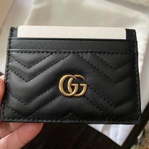 Black lesther gucci card holder wallet